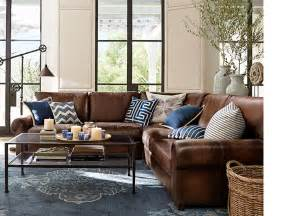 Living Room Ideas With Brown Leather Sofas Iron And Glass Table To Lighten Room The Leather Sofa For Family Room Room Decorating