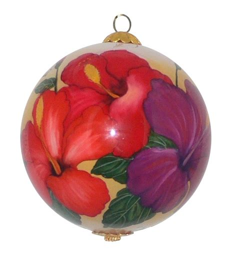 christmas hawaiian style hibiscus hand painted