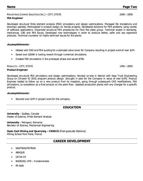 Structural Engineer Resume by Structural Engineer Resume Sle Http Resumesdesign