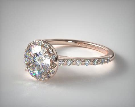 Yellow Gold Halo Engagement Rings Brilliant And by 17305r14 Pave Halo And Shank Engagement Ring