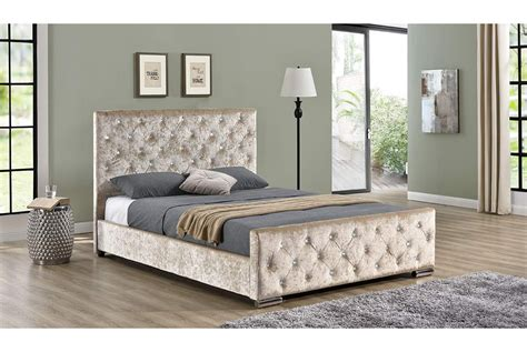bed with diamante headboard beaumont diamante crushed chagne gold fabric