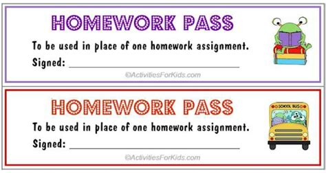 free homework pass template the gallery for gt no homework coupon