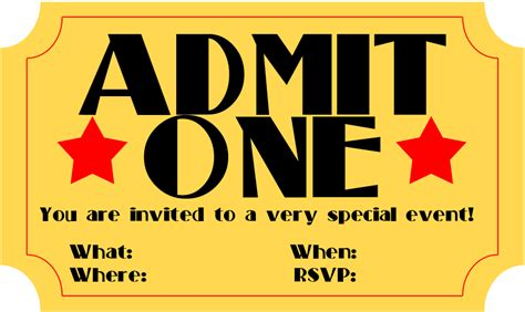 free printable invitation movie ticket stub frugalful