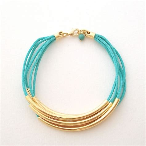 cord and bead bracelet faux wrap turquoise bracelet gold and