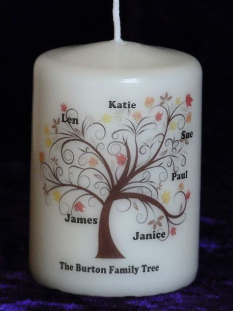 personalised family tree birthday christmas memorial candle gift keepsake ebay