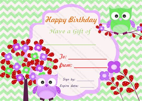 gift card birthday template birthday bumps gift certificate template