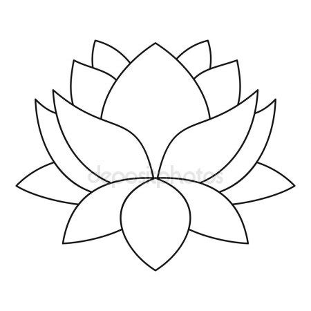 lotus flower icon outline style stock vector