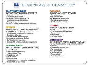 Six Pillars Of Character Essay 6 pillars of character education character counts and the six pillars of character are