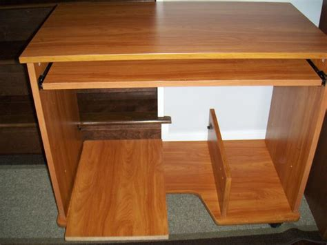 small rolling desk with sliding key board tray saanich