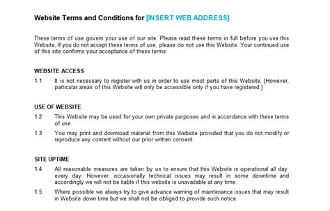 terms and conditions template for shop website terms and conditions template