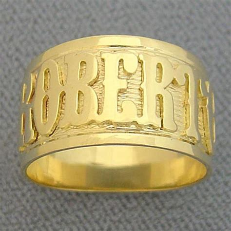 Handmade White Gold Rings - 14k solid yellow or white gold handmade personalized name ring