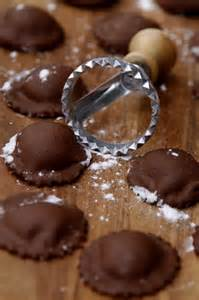 chocolate ravioli filled with mascarpone and vanilla chocolate ganache with pinpoint