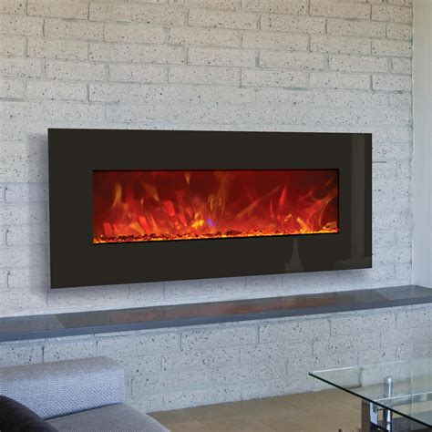Electric Wall Fireplace Amantii Advanced Series 43 Inch Wall Mount Built In Electric Fireplace Black Glass Wm Bi 43