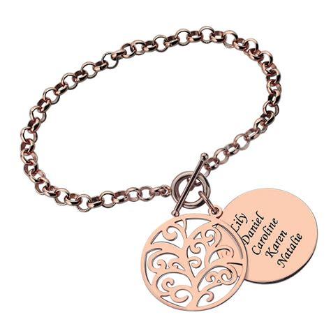 engraved family tree bracelet 18k gold plated disc