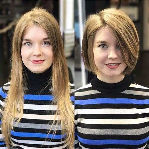 before snd after oval shapped face hair cuts 10 chic short bob haircuts that balance your face shape