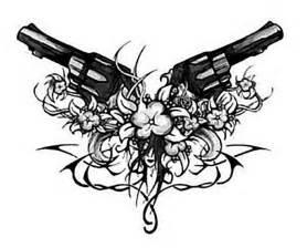 tribal tattoo design wth gun and flowers