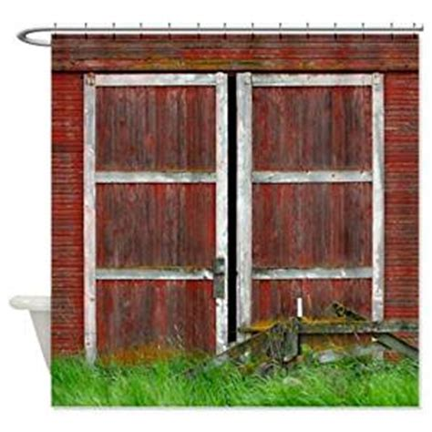 Amazon Com Red Barn Door Shower Curtain Barn Door Curtains