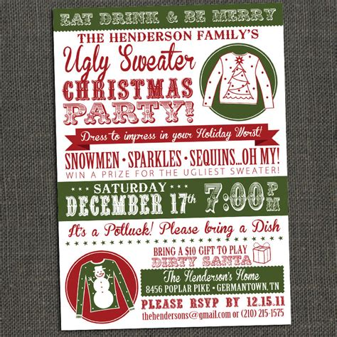 ugly sweater christmas party invitation by