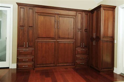 custom wall cabinet custom stained cherry wall bed traditional bedroom
