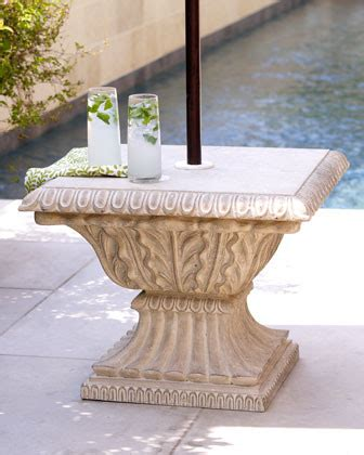 Patio Umbrella Stand Table Limestone Umbrella Base Traditional Outdoor Umbrellas By Horchow