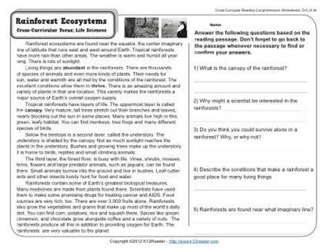 rainforest ecosystems 4th grade reading comprehension