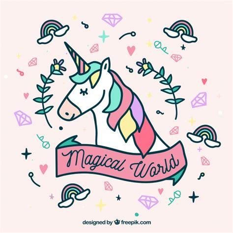 Imagenes De Unicornios Tiernos | cara de unicornio y elementos tiernos dibujado a mano