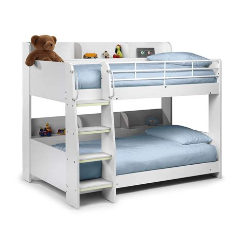 Childrens Wooden Bunk Beds Modern White Wooden Julian Bowen Domino Bunk Bed Storage Shelves Ebay