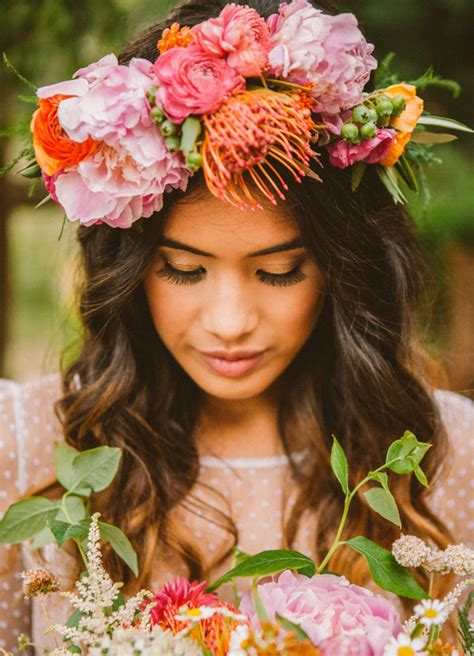 Forest Colorful Flower Crown moonrise kingdom wedding inspiration part 2 green