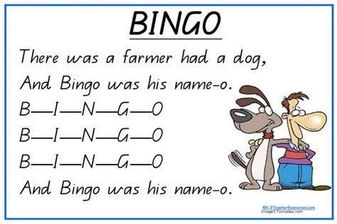 bingo song bingo song and print a4 sheet and charts for rhythm rhyme and