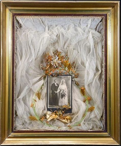 Wedding Veil Box by Shadow Box Wedding Cabinet Card With Veil And Buttoner