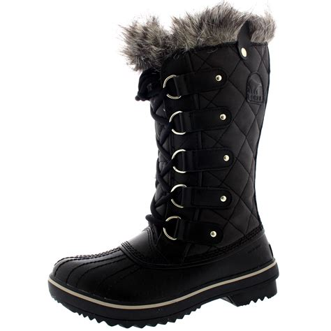 snow boots for uk womens sorel tofino leather snow black winter fur lace up
