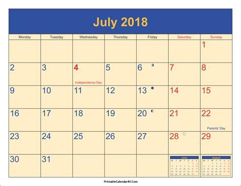 printable calendar 2018 july july 2018 calendar printable with holidays pdf and jpg