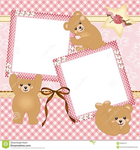 girl frame baby girl photo frame with teddy bear stock vector
