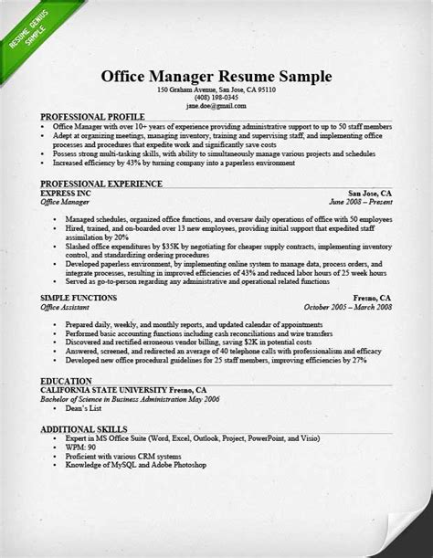 resume for office manager office manager resume sle tips resume genius