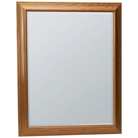 oak framed bathroom mirror glacier bay hton 29 1 4 in x 35 in framed vanity