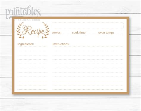 editable recipe cards kitchen organization brown recipe