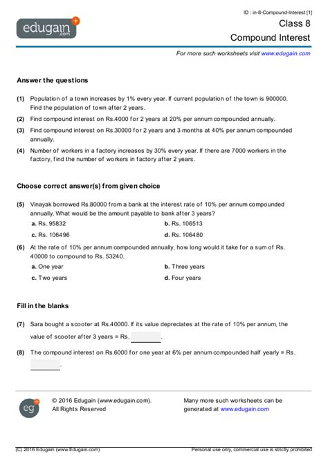 Interest Worksheets by Class 8 Math Worksheets And Problems Compound Interest
