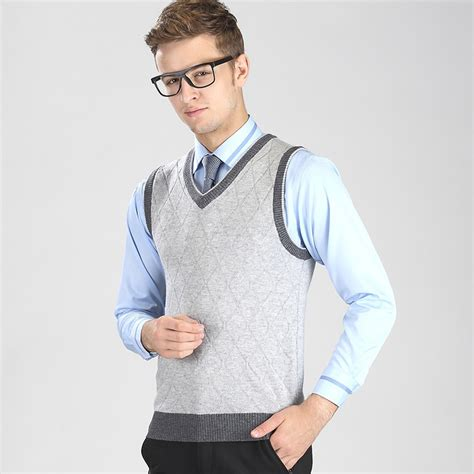 Sweater Rajut Pria Kasual 1 autumn and winter casual v neck plaid sweater vest pullover sleeveless sweater in