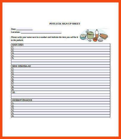 potluck signup sheet template word potluck signup sheet template word program format