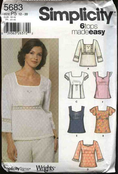sewing pattern empire waist top simplicity sewing pattern 5683 misses size 4 10 easy