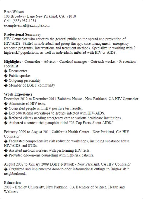 professional hiv counselor templates to showcase your talent myperfectresume