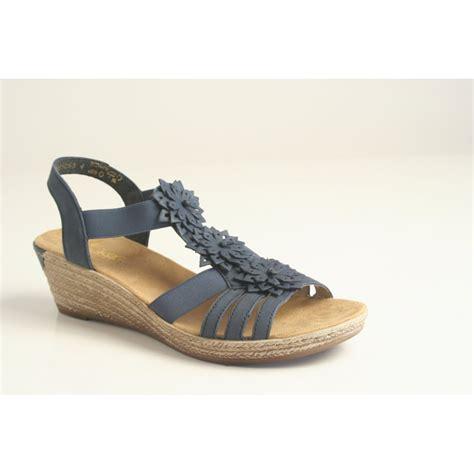 rieker rieker platform wedge sandal 62461 14 in blue with