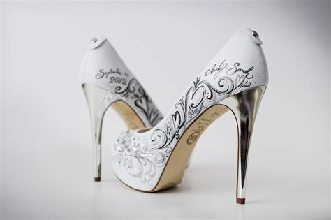 custom wedding sneakers white custom wedding shoes with silver heels
