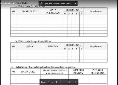 format buku kerja guru contoh format buku piket guru paud tk ra kb tpa word