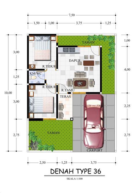 contoh denah rumah tipe 36