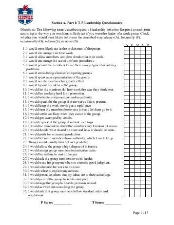 printable leadership survey score tally sheet for leadership questionnaire csap