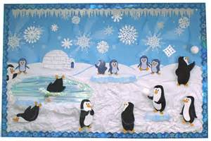 Penguin themed winter bulletin board idea