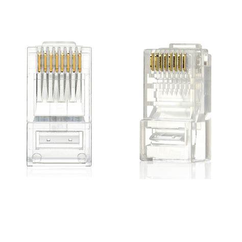 Connector Rj45 Cat 5e Isi 100 Pcs Pin Lan Konektor Rj 45 Rj 45 new 100pcs rj45 rj 45 cat 5 modular ethernet gold plated network connector ebay