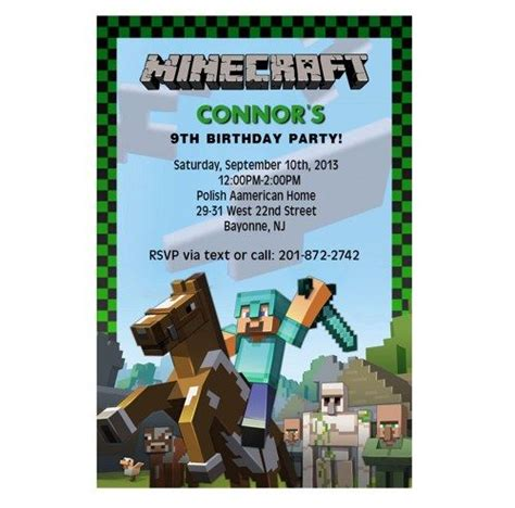 Minecraft Birthday Invitation Card Template by Minecraft Birthday Invitation Wording Ideas