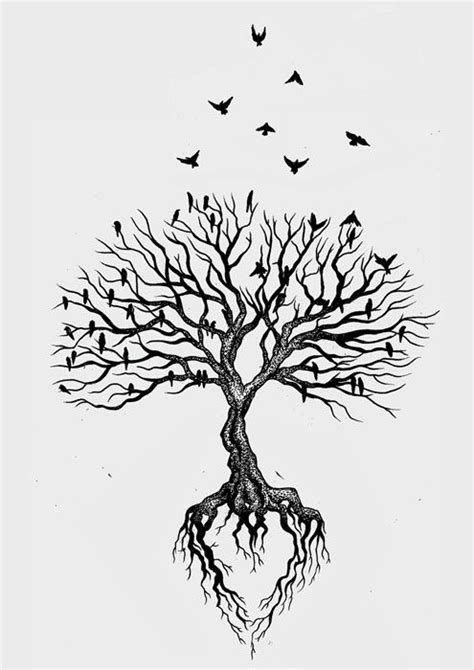 black tree tattoo for my black tree with watercolor background